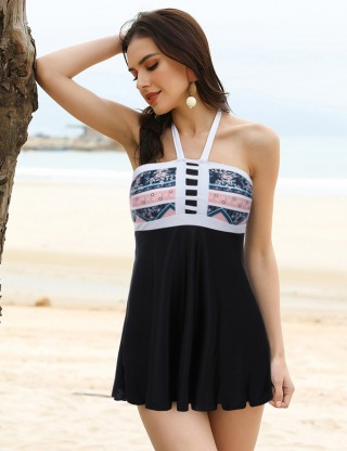 Eye Catcher  Black Halter Big Size Contrast Color Tankini Form Fit