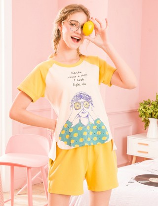 Lovely Lemon Short Sleeve Pocket Two Piece Sleepwear Classic Fit