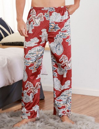 Wine Red Contrast Color Print Male Pants Faux Slik All Over Loose Fitting