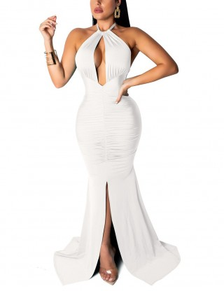 Sheath Cut Out White Tie Backless Ruched Evening Dress