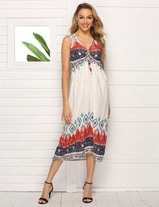 Brightly Sleeveless Big Size Print Midi Dress Drawstring Feminine Curve