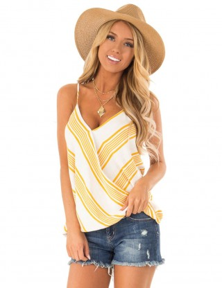 Mystic Yellow Wrap Adjustable Strap Stripe Vest Top Lady Fashion