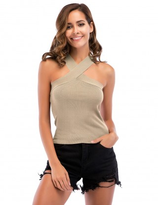 Appealing Apricot Backless Ribbed Tank Top Criss Cross Snug Fit