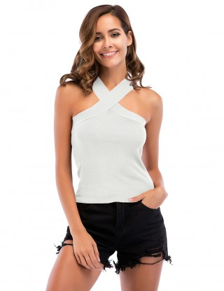 Flirtatious White Bandeau Cross Plain Tank Top Open Back Womenswear