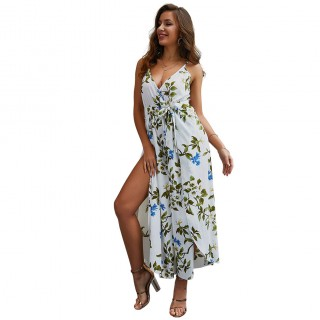 Premium White Print V Neck Sling Tie Jumpsuit Slit Women Outfits