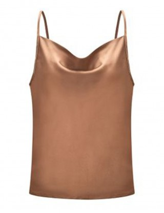 Cool Khaki Chiffon Slender Strap Big Size Top Plain For Vacation