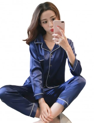 Flyaway Pocket Blue Faux Silk Buttons Pajama Lapel Neck Kingly Making