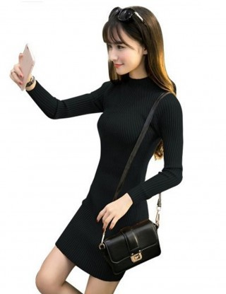 Black Long Sleeve Ribbed High Neck Sweater Dress All-Match Style