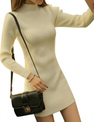 Delightful High Neck White Mini Length Sweater Dress Ribbed