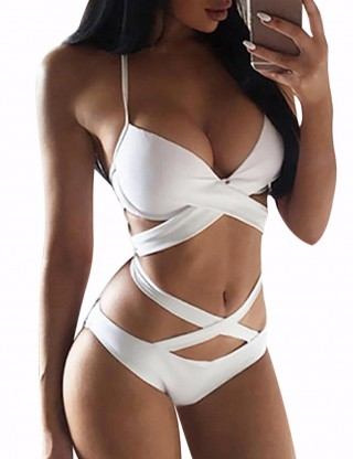 White Criss Cross Bandage Bikini V Collar Hollow Distinctive Look