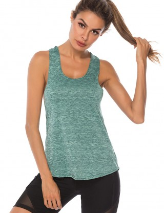 Glossy Green Backless U Neck Sport Tank Top I-Shaped Trend For Women