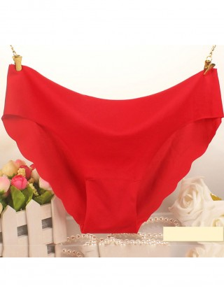 Slim Pure Color Scallop High Waist Panty Inexpensive Wholesale