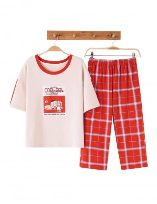 Funny Print Short Sleeve Sleepwear Set Plaid Slim Fitted All Over
