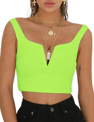 Flattering Light Green Backless Zipper Side Cropped Top V Collar Comfort