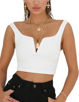 Endearing White Backless V Neck Plain Cropped Top Zipper Sexy Ladies