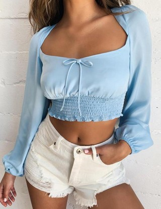 Attractive Blue Backless Smocking Cropped Top Tie Back Female Charm