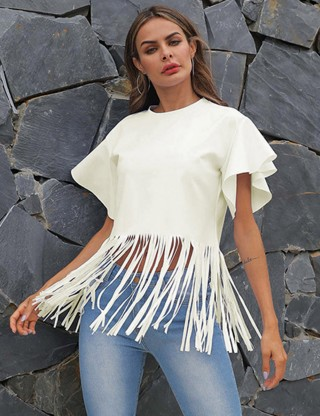 Remarkable Crew Neck Beige Flounce Sleeve Cropped Top Tassel Online