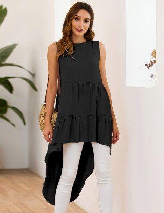 Poolside Black High-Low Hem Sleeveless Bohemia Tunic Top For Women