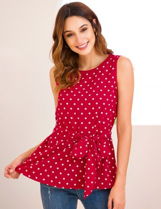 Favorite Chiffon Red Crew Neck Dot Waist Tie Tank Top Fashion Shopping
