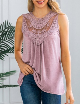 Smooth Button Lace Stitch Pink Hollow Tank Top Crew Neck Amazing Look