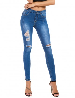 Cheap Light Blue Big Size Pocket Ripped Pencil Jeans Button Fashion