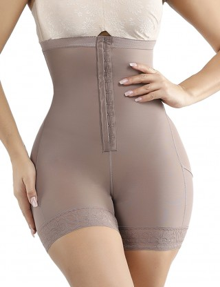 Brown Large Size High Waist Plus Size Butt Lifter With Hooks