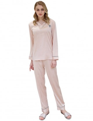 Breathtaking Rose Gold Letter Print Faux Silk V Collar Pajama Wrap Slim Style