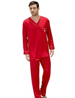 Intimate Red Men V Neck Print Contrast Piping Pajama Pocket Style