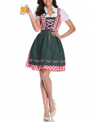 Slim Green German Minority Plaid Maid Oktoberfest Costumes Comfortable