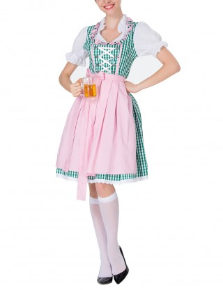 Exotic Green Plaid Dirndl Queen Size Carnival Oktoberfest Costumes Elegance
