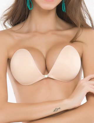 Deep V Neck Skin Front Closure Silicone Invisible Bra Super Sexy
