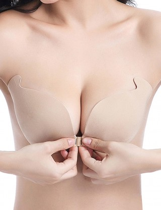 Skin V Neck Invisible Bra Wireless Plain Closure Fashion Online