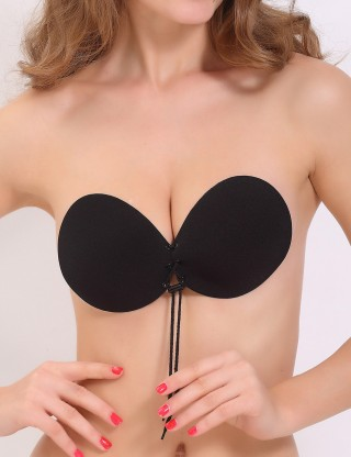 Sensual Padded Black Push Up Invisible Bra Lace Up Comfort