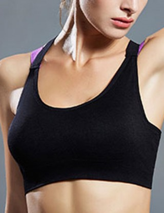 Black Contrast Color Backless Sport Bra Wide Strap For Running Girl