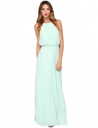 Fashionable Light Blue Maxi Length Pleated Evening Dress Sleeveless For Camping