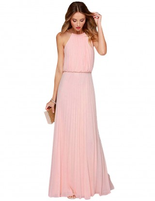 Natural Pink Halter Maxi Length Evening Dress Pleated Natural Outfit