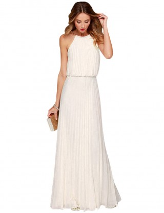 Glitzy White Halter Pleated Plain Evening Dress Hollow For Walking