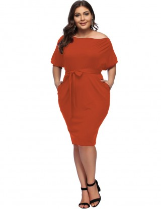 Orange Queen Size Waist Belt Oblique Shoulder Midi Dress Sexy Fashion