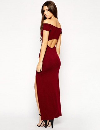 Classy Cut Out Red Off Shoulder Split Evening Dress Superior Quality