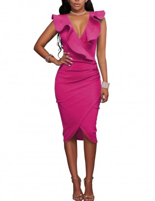 Elegance Rose Red Ruched Zip Sleeveless V Neck Wrap Bodycon Dress Sexy Ladies
