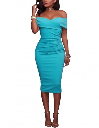 Intrigued Light Blue Plain Midi Length Off Shoulder Bodycon Dress Outfits