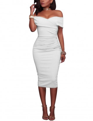 Utility White Off Shoulder Shirred Plain Bodycon Dress Backless Preventing Sweat