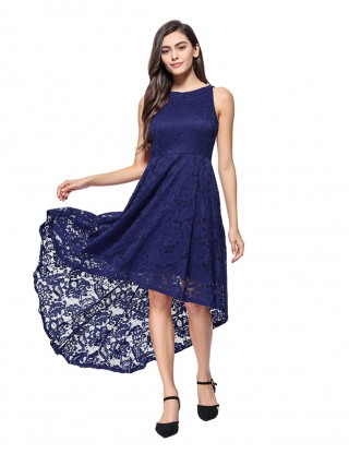 Fabulously Navy Blue Zip Invisible Lace Dovetail Hem Evening Dress