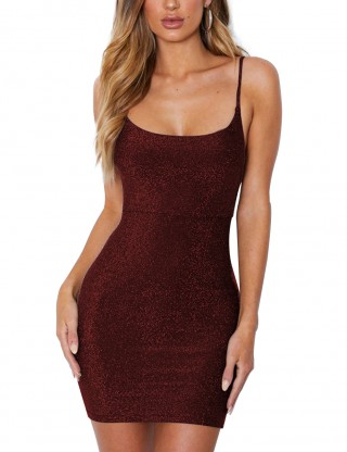 Sheerly Wine Red Backless Tie Lace Up Bodycon Dress Sling Women