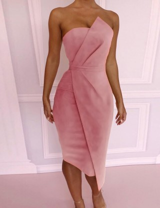 Plain Pink Waist Slim Wrap Backless Zip Evening Dress Adult