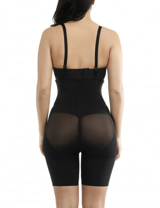 Smoother Black Butt Lifting Mesh Patchwork Body Shaper Plus Size Figure Shaping