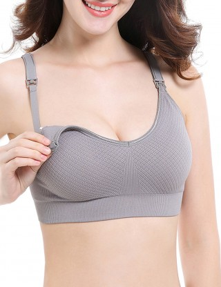 Flashy Grey Wire-Free Open Front Seamless Motherhood Bra Skinny Ladies