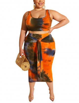 Orange Sleeveless Knot Big Size Cropped Set Tie Dyed Fashion Style