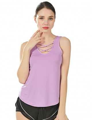 Mod Purple Plain Strappy Front Sport Tank Top Fashion Top