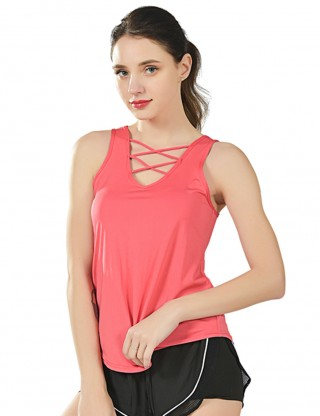Flattering Watermelon Red Solid Color Cross Front Sport Tank Top